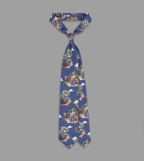 Korea Silk Tie giraffes between palm trees blue High Quality