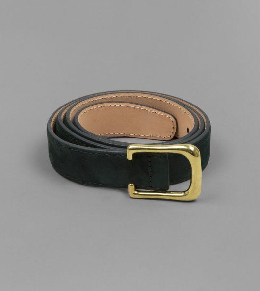 Dark Green Calf Suede 2.5cm Belt with Brass Buckle