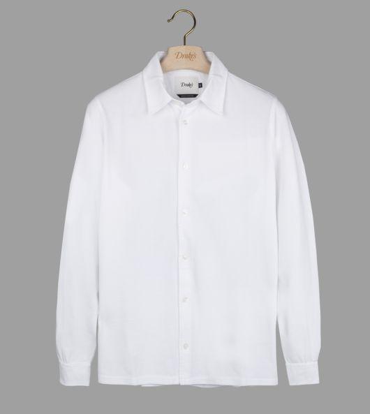 White Button-Through Pique Cotton Polo Shirt