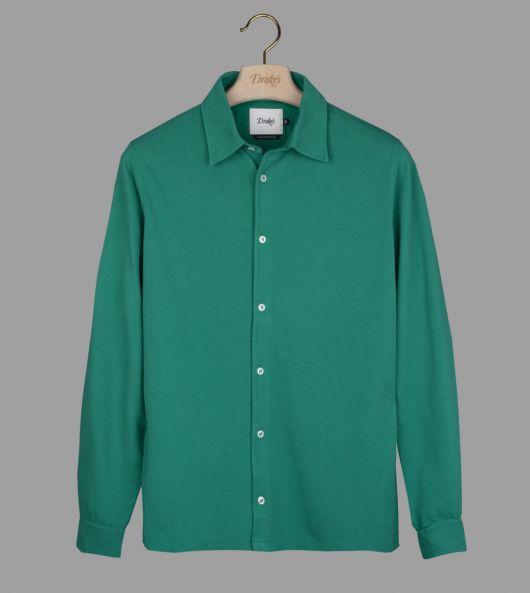 Green Button-Through Pique Cotton Polo Shirt