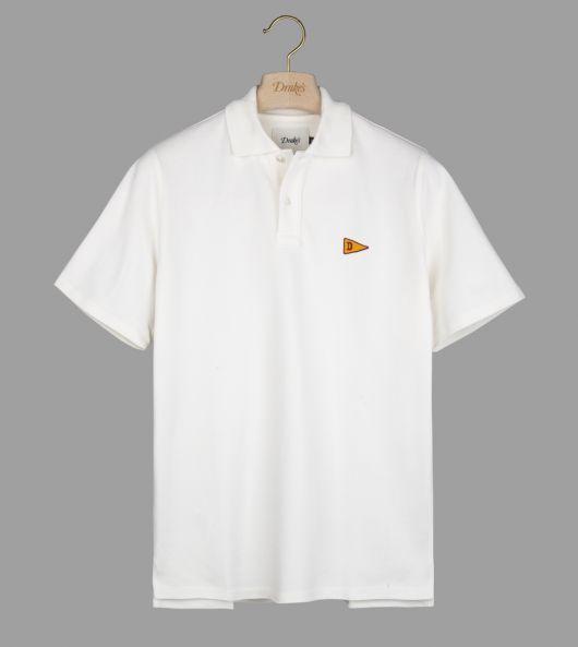 White Embroidered Flag Emblem Pique Cotton Polo Shirt