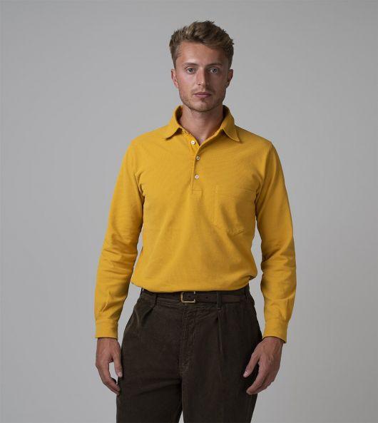 Yellow Pique Cotton Popover Polo Shirt