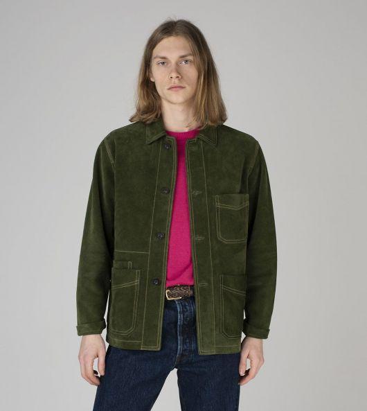 Dark Green Heavyweight Suede Five-Pocket Chore Jacket