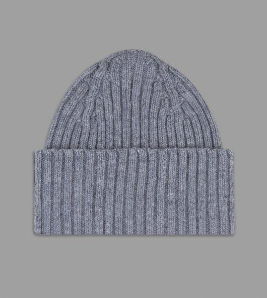 Grey Ribbed Lambswool Watch Cap