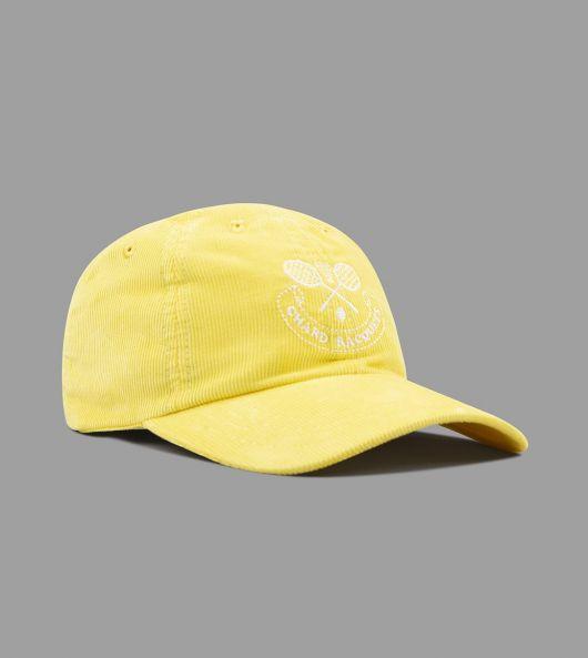 "Bright Yellow ""Chard Racquets"" Needlecord Six-Panel Ball Cap"