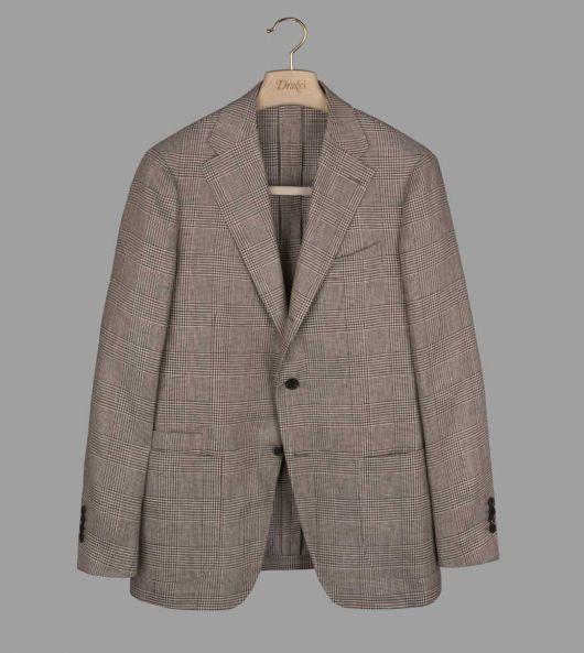 Natural Glen Check Linen Jacket