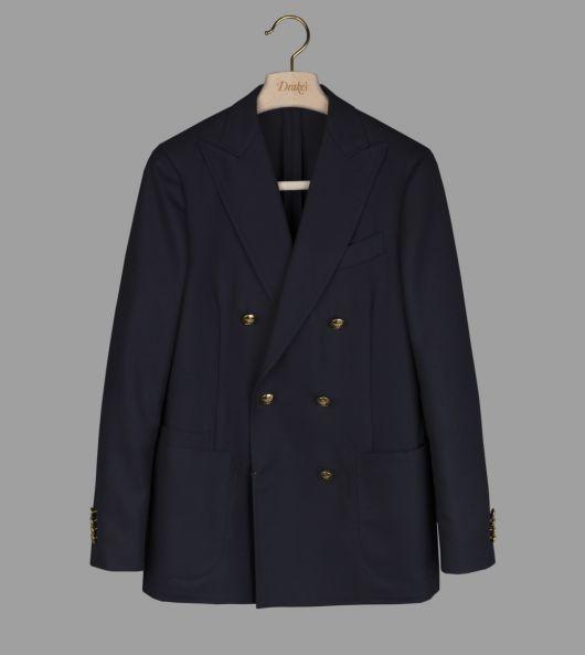 Navy Basketweave Wool Brass Button Blazer