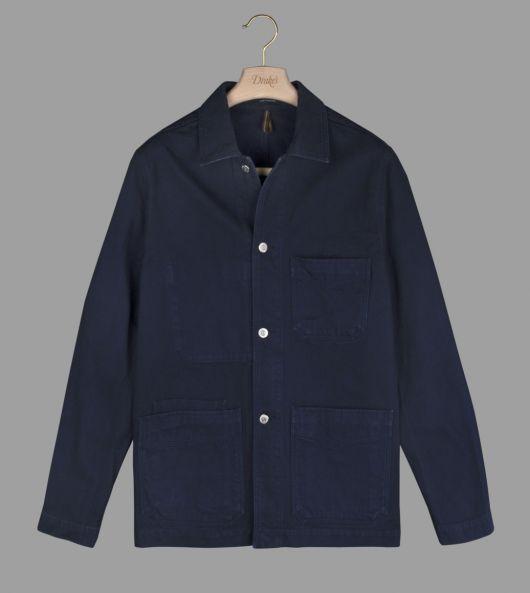 Navy Blue Cotton Canvas Five-Pocket Chore Jacket