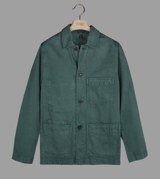 Green Tencel-Cotton Five-Pocket Chore Jacket