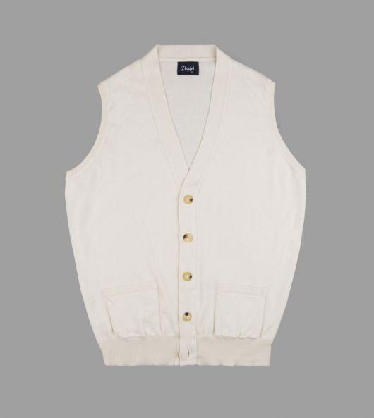 Cream Knitted Cotton Sleeveless Cardigan