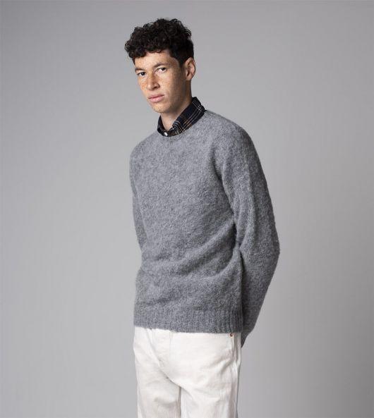 Grey Brushed Shetland Wool Crew Neck Jumper