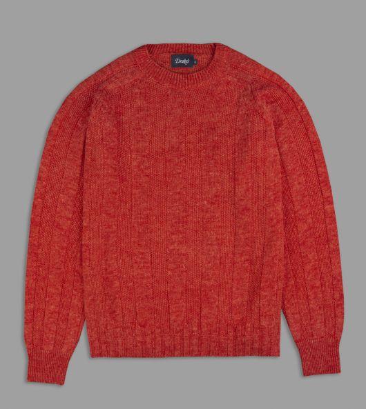 Red Summer Seed Stitch Mohair-Linen Jumper