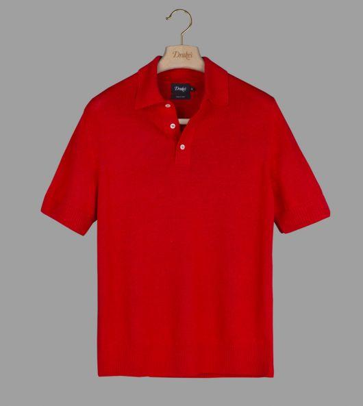 Red Linen-Silk Waffle-Knit Polo Shirt