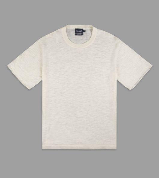 Cream Knitted Silk-Linen Short-Sleeved T-Shirt