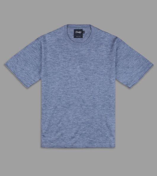 Blue Knitted Silk-Linen Short-Sleeved T-Shirt