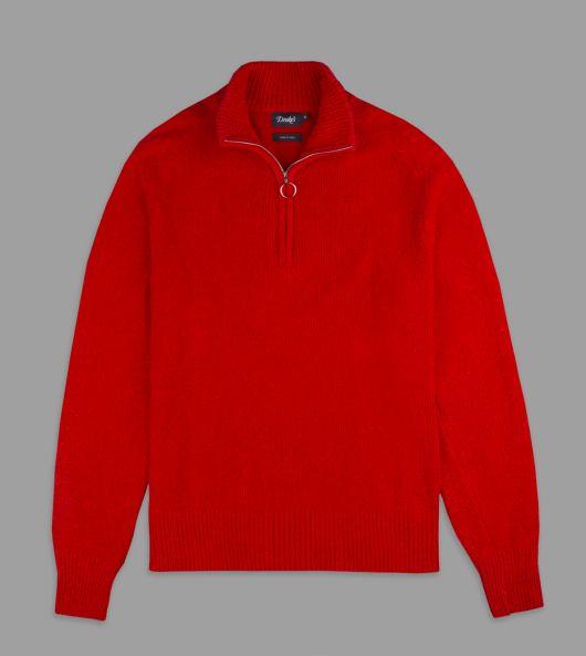 Red Silk-Cotton Chenille Quarter-Zip Track Top