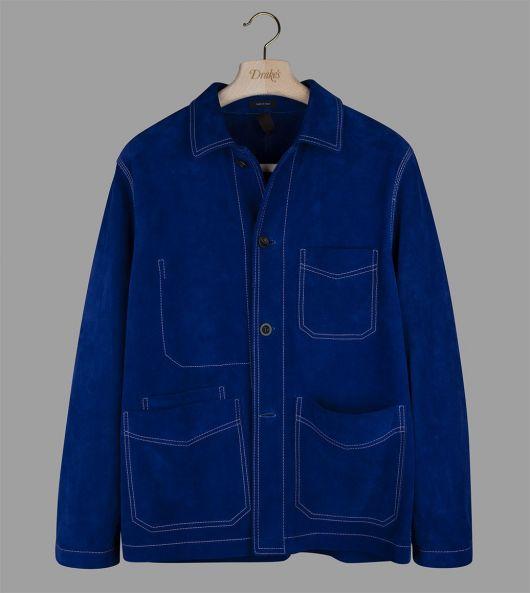 Royal Blue Heavyweight Suede Five-Pocket Chore Jacket