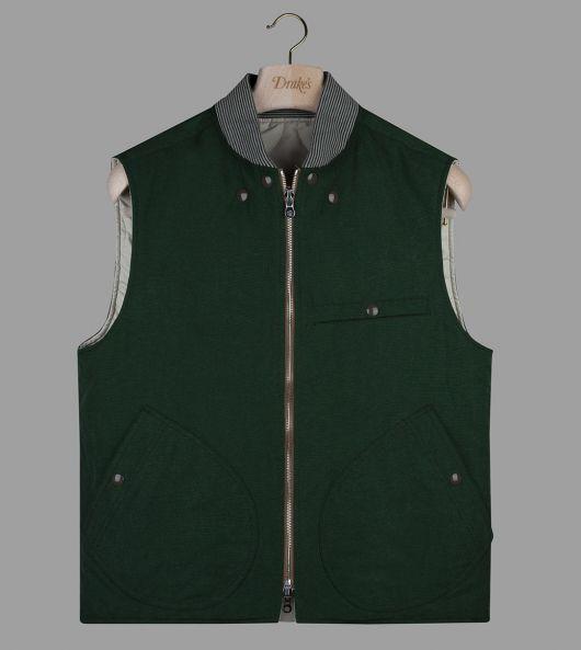 Racing Green Cotton-Nylon Reversible Vest
