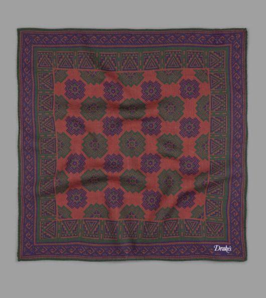 Brown Geometric Stamp Print Wool-Silk Pocket Square