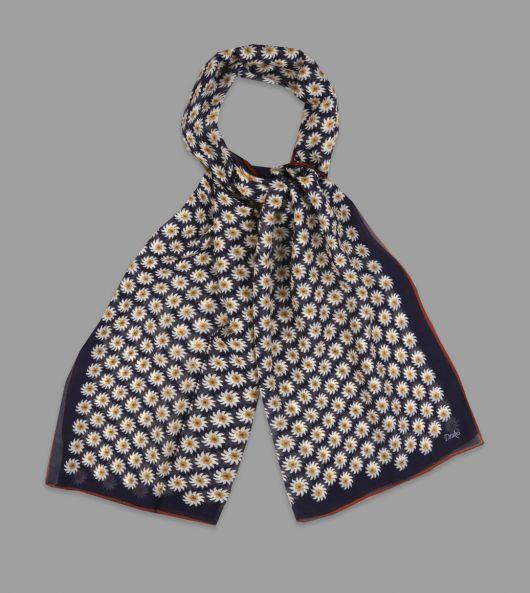 Navy Daisy Print Cotton-Silk Scarf