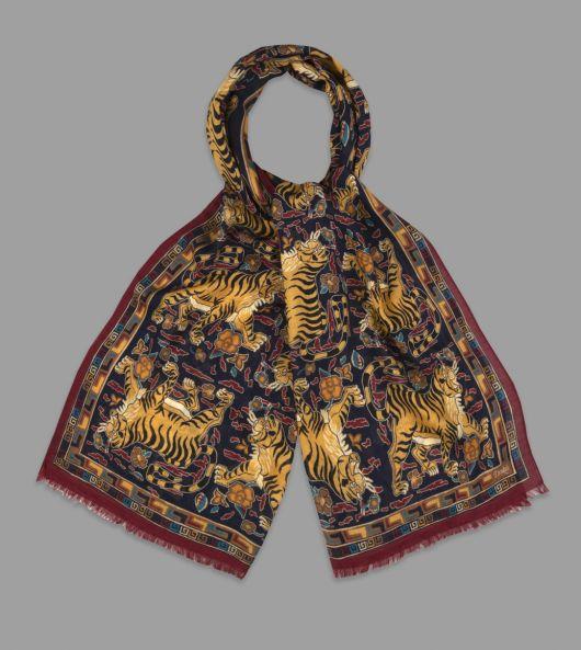 Navy Archival Jumbo Tiger Print Wool-Silk Scarf