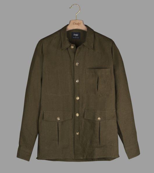 Khaki Linen Overshirt