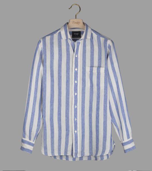 Blue Awning Stripe Linen Spread Collar Shirt