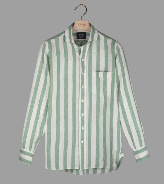 Green Awning Stripe Linen Spread Collar Shirt
