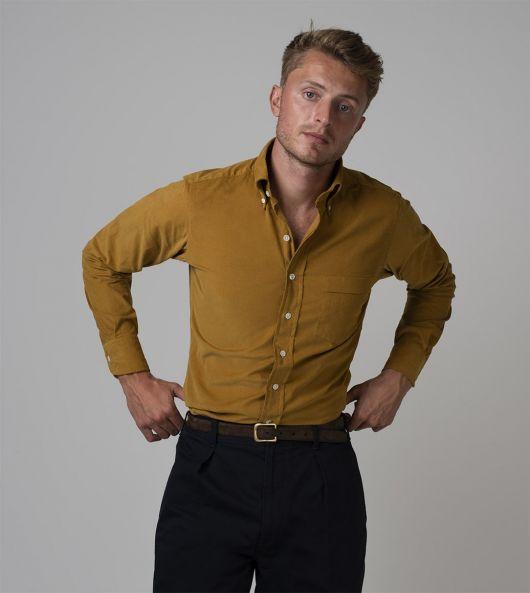 Yellow Cotton Needlecord Button-Down Shirt
