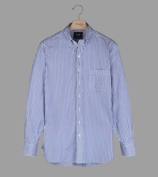 Blue and White Bengal Stripe Cotton Poplin Button-Down Shirt