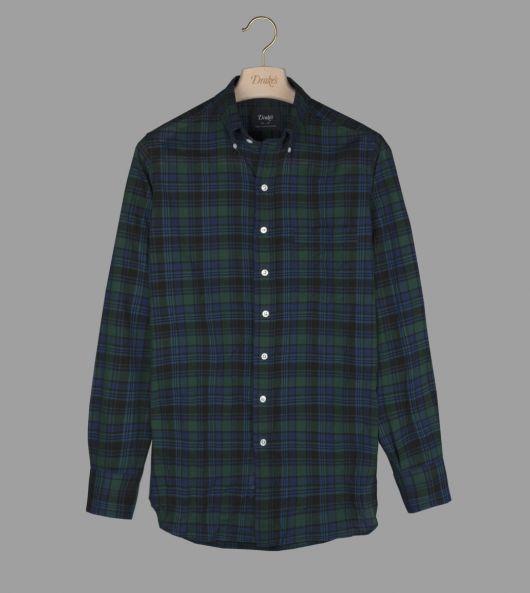 Navy and Green Check Cotton-Linen Button-Down Shirt