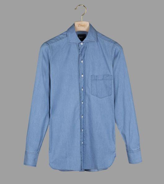 Victoria Blue Denim Shirt with Spread Collar