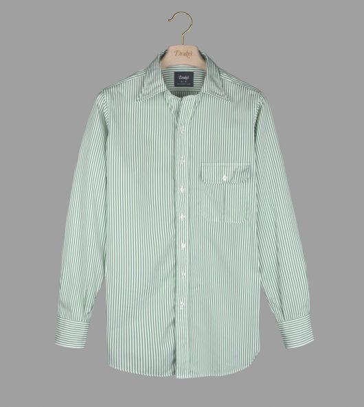 Green Stripe Cotton Poplin Long Point Collar Shirt