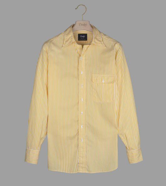Yellow Stripe Cotton Poplin Long Point Collar Shirt