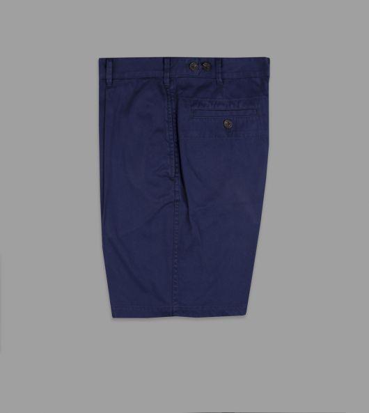 Navy Cotton Single-Pleat Games Shorts