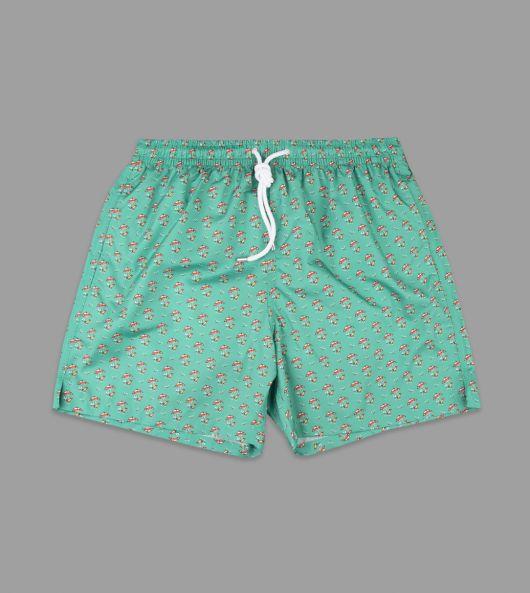 Green Beach Print Swimming Shorts