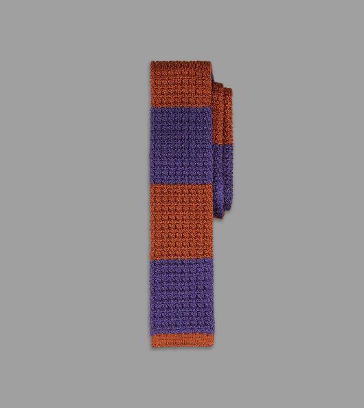 Rust and Purple Block Stripe Knitted Silk Tie