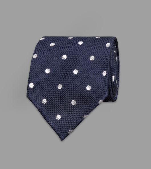 Navy Woven Spot Grenadine Silk Tie