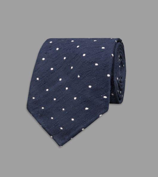 Navy Spot Shantung Silk Tie