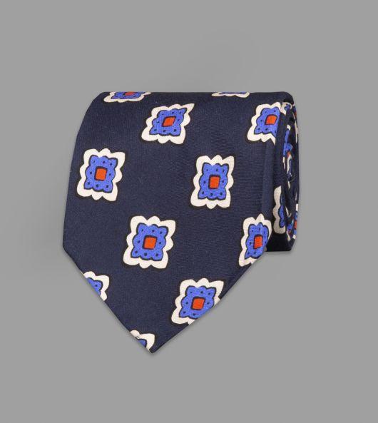 Navy, Blue and White Floral Tile Print Habotai Silk Tie