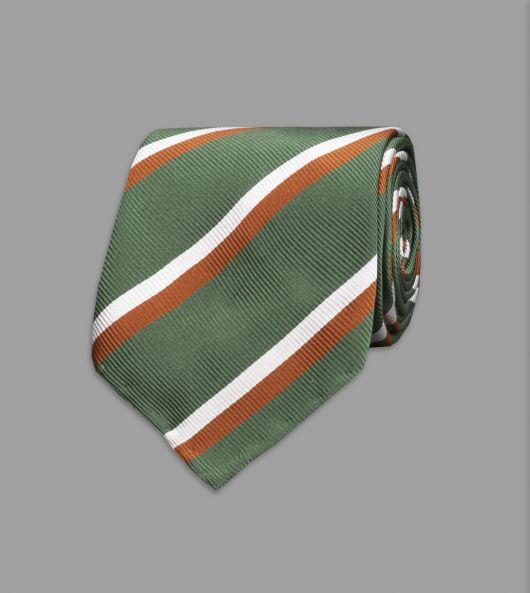 Green, Orange and White Multi-Stripe Repp Silk Tie