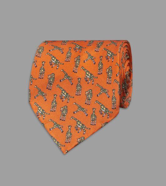 Orange Giraffe Print Silk Tie