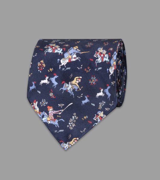 Navy Mini Mughal Hunter Print Silk Tie