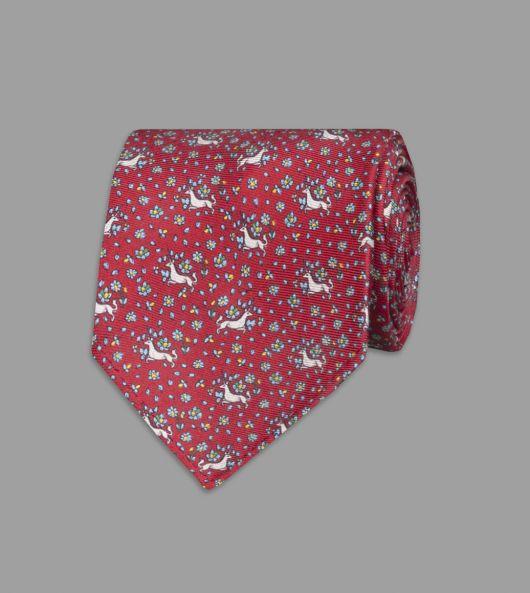Red Mini Unicorn Print Silk Tie