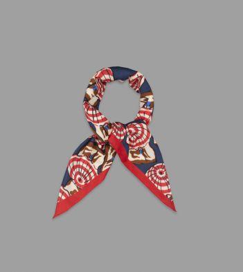 Navy and Red Parasol Print Cotton Bandana