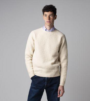 Ecru Brushed Shetland Wool Crew Neck Jumper