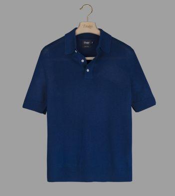 Blue Linen-Silk Waffle-Knit Polo Shirt