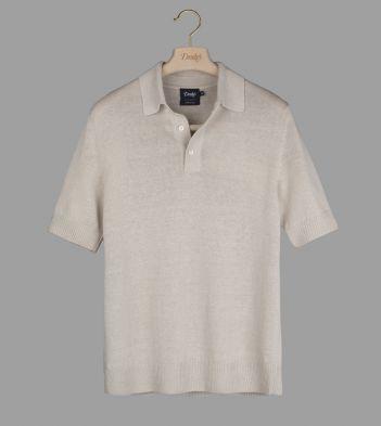 Beige Linen-Silk Waffle-Knit Polo Shirt