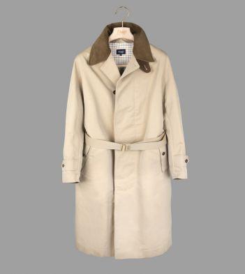 Beige Cotton Twill Belted Raincoat