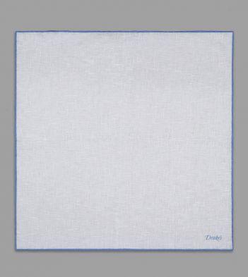 Blue Shoestring Border Plain Linen Pocket Square